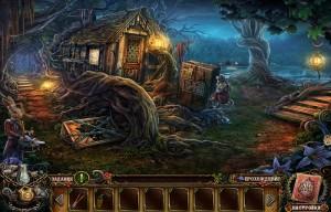 заброшенная избушка в волшебном лесу корни деревьев деревянная тропинка