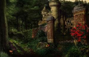 Дрематорий доктора Магнуса, старинный замок, розовый куст, ворота