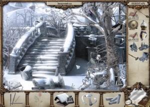 Зеркало тайн, сад в снегу, лестница, дерево