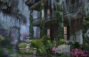 За семью печатями: 13-ый череп, двор дома Лоусонов, фонтан, цветочная арка