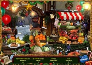 Рождество: Страна Чудес, поиск предметов, рынок, фрукты, овощи