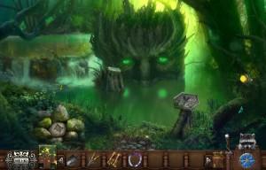 волшебный лес деревянное чудовище с зелеными глазами