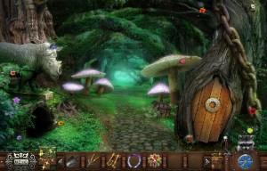 волшебный лес домик в дупле дерева огромные грибы