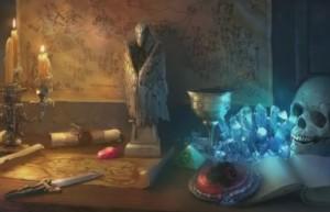 Проклятие Ведьмака, череп, кристаллы, свечи