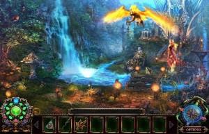 Энчантия: Гнев Королевы Фениксов, водопад, феникс, лес