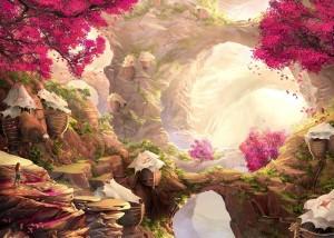 Древнее пророчество инков 2, красивый пейзаж, скалы, цветущие деревья
