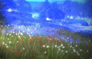 поле с цветами голубой туман