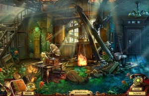 Квестериум: Зловещая Троица, разрушенный дом, граммофон, огонь