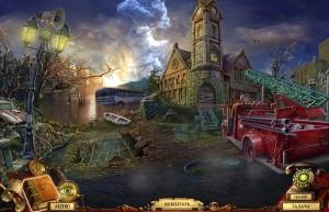 Квестериум: Зловещая Троица, разрушенный город, хаос, затонувший автобус, пожарная машина