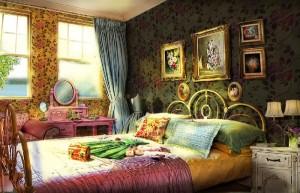 Дрематорий доктора Магнуса, спальня, открытые окна, картины на стене