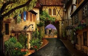 Дрематорий доктора Магнуса, красивая улица, цветник, арка