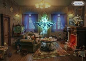 Охотники на ведьм 2: Обряд полнолуния, гостиная, призрак