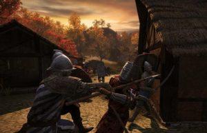 деревянный дом, средневековая улица, сражение рыцарей