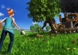 Тургородки, бульдозер ломает деревья