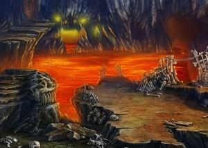 Зловещие Истории: Сага Тьмы, озеро лавы, страшная пещера