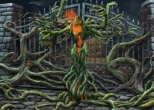 Зловещие Истории: Сага Тьмы, запертые ворота, корни дерева