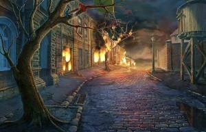 Месть Доктора Блэкмора, горящие дома на улице