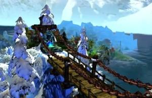 King's Bounty: Воин Севера, деревянный мост, ели в снегу