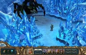 King's Bounty: Воин Севера, ледяная пещера, кристаллы, огромный паук