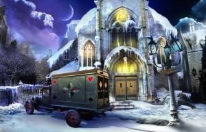 Охотники за тайнами 4: Четыре Туза, вход в церковь, фургон