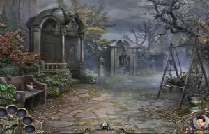 Охотники на ведьм: Украденная красота, во дворе замка, каменная скамья
