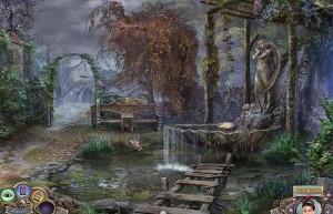 Охотники на ведьм: Украденная красота, фонтан с ангелом, деревянная лестница