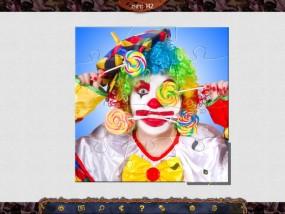 Праздничный Паззл: Хэллоуин, клоун, разноцветный парик, конфета - леденец