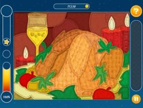 Мозаика: Паззл Рождество, праздничный пирог, бокал шампанского, свечи