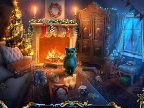 Рождественские истории 4: Кот в сапогах, гостиная с камином, наряженная елка, кот