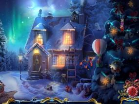 Рождественские истории 4: Кот в сапогах, домик в лесу, деревянная лестница, украшенная елка